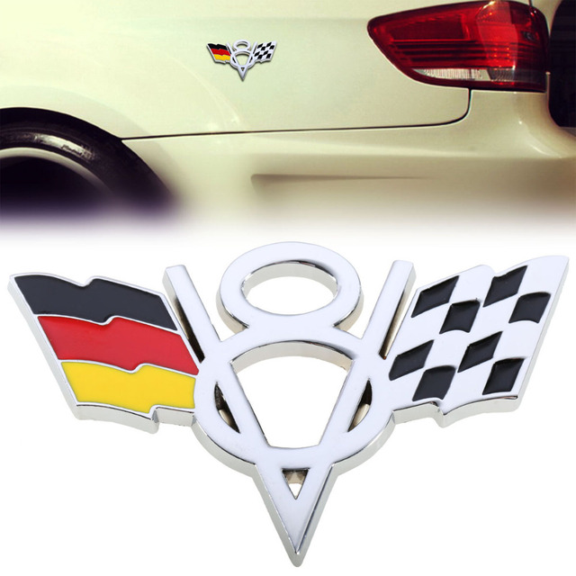 Dsycar 3d Metal V8 Engine Displacement Logo Germany Flag And Racing