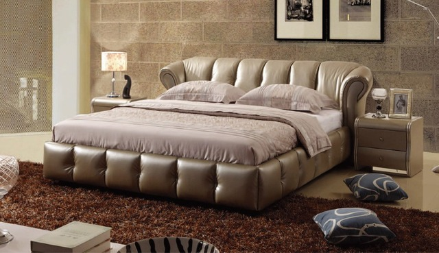 US $657.06 6% di SCONTO|Designer moderno genuino di cuoio reale morbido  letto/letto matrimoniale king/queen size camera da letto mobili per la casa  ...