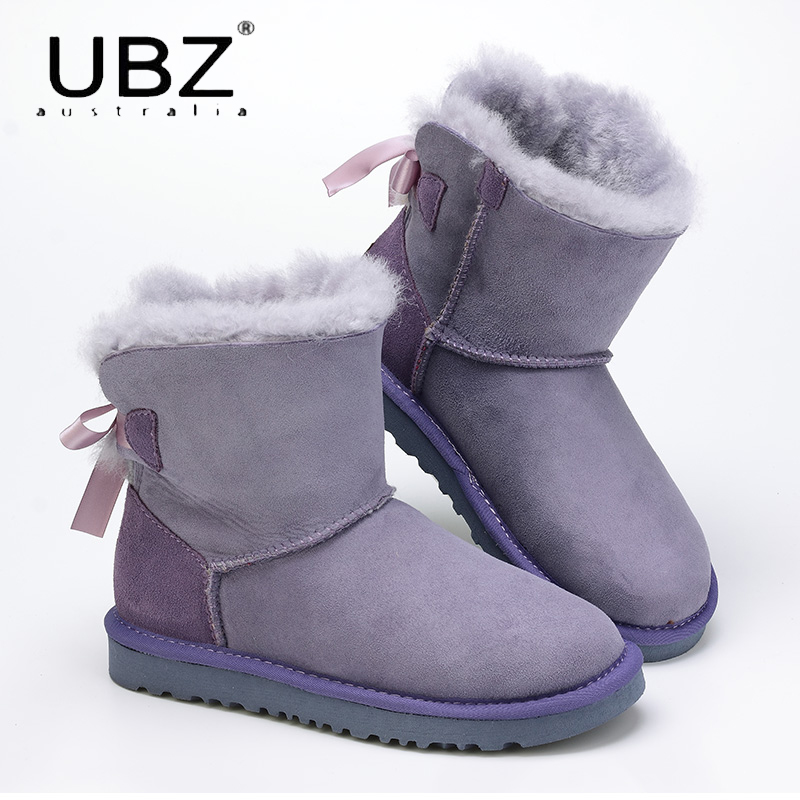 UBZ Women's Shoes Sheepskin Leather Boots Winter Australian Female Snow Boots Wool Women Fur Boots Botas Mujer Flat Shoes