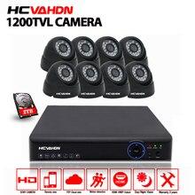 HCVAHDN HD 8CH CCTV DVR System 8pcs 1200TVL IR cut Dome indoor Video Surveillance Security Camera set AHD 1080P DVR Home Kit