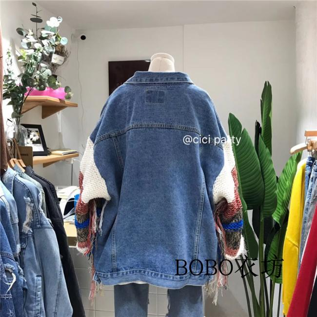 Lady Veste pu Ciel Lâche Pardessus Bf Couleur Femmes Printemps Automne Couture Manteau Denim Bleu Gland Vent Corée Filles Manches Tricoté UWZ7v