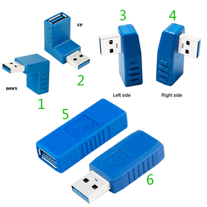 Image 2 - Niebieski 90 stopni w pionie lewego prawego w górę w dół pod kątem USB 3.0 męski na żeński konwerter M/F złącze adaptera