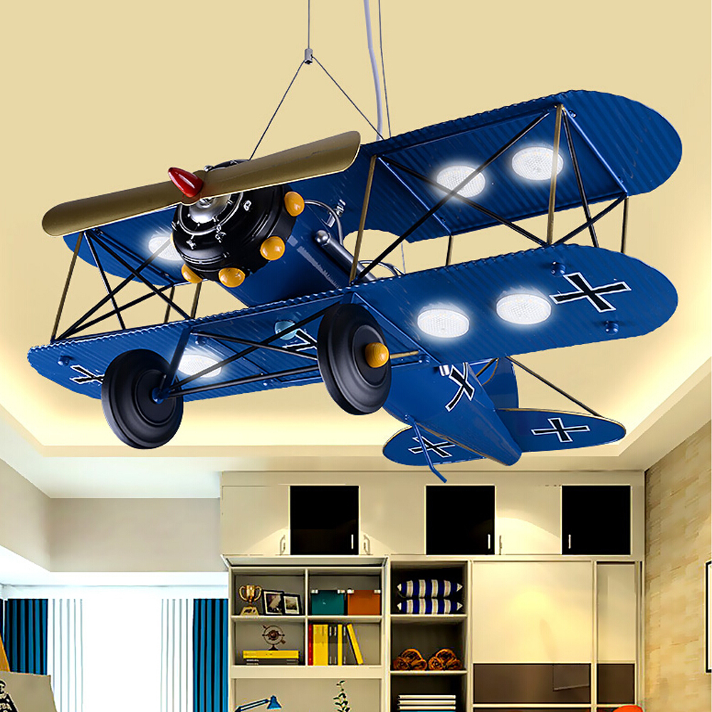 Children 's Iron Airplane Room LED Pendant Lights Bedroom Creative Personality Cartoon pendant light Retro Hanging Lamps led suction dome light fashion cartoon study bedroom children s room lights