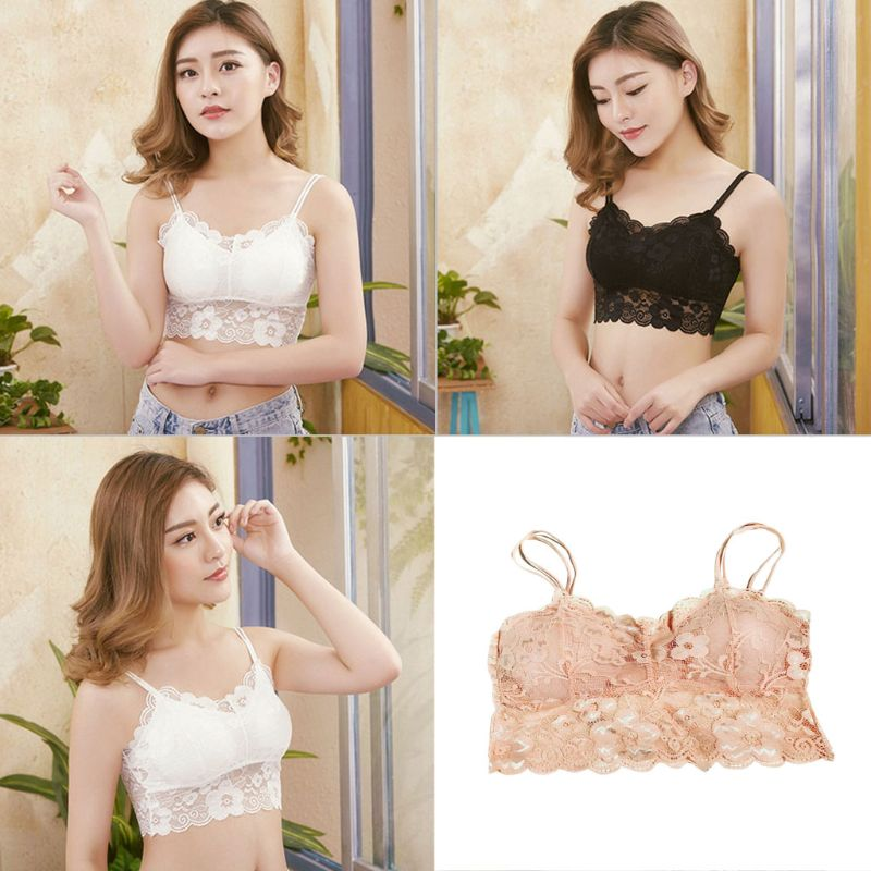 Women Floral Lace Double Strap Bralette Seamless Padded Brassiere Solid Crop Top