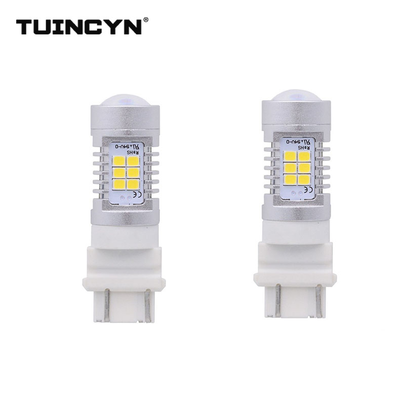 TUINCYN 2pcs LED Signal Light T25 3157 2835 21SMD 80W High Power 12V Lens Turn Signal Back Up Reverse Tail Brake LED Light
