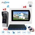 7 ''WIFI IP Video Tür Sprechanlage Tür Glocke Lautsprecher Access Control System Touch Screen Motion Erkennung 2 zu 6 w/POE Schalter
