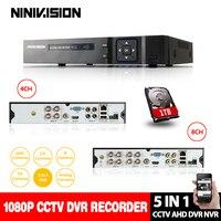 NINIVISION 1080 P AHD H Гибридный 8 канальная аналоговая камера высокой четкости, видеорегистратор Регистраторы 5 в 1 гибридный видеорегистратор 8Ch AHD