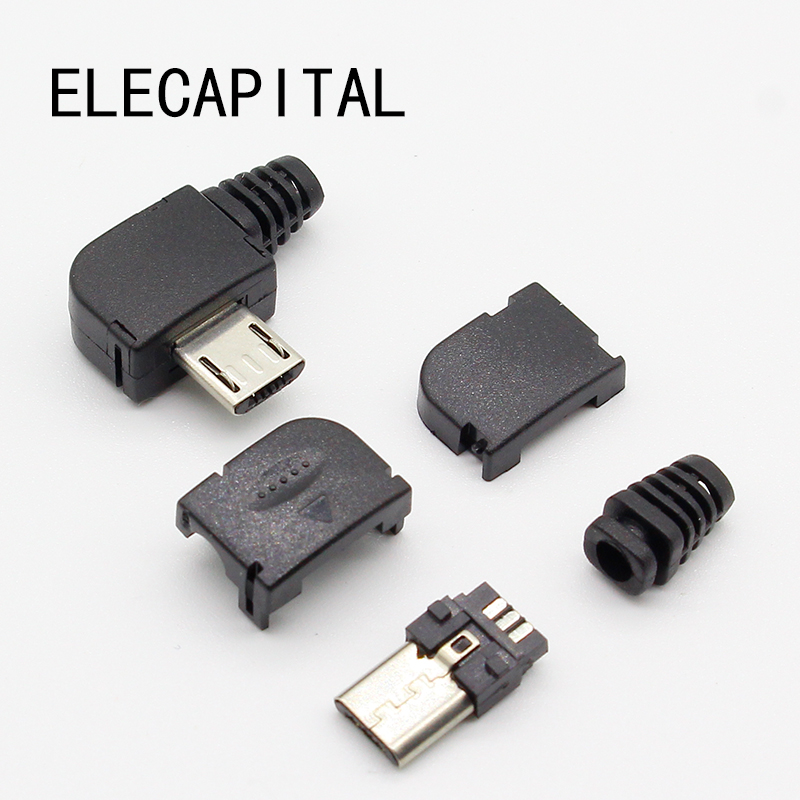 10sets/lot Micro 5P USB Male Plug Solder Type Tail Charging Plug 90 Degree Free Shipping