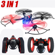 RC Flying Car Drone 3 in 1 RC Tank Bounce Car WIFI FPV 480P HD Cam Transformation Quadcopter(China)