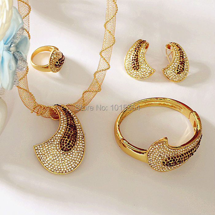Alibaba wholesale retail turkey 18K gold plated jewellery set for