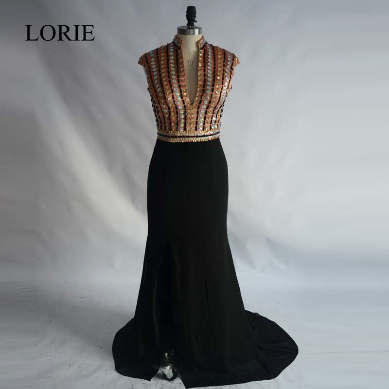 Gold Mermaid   Prom     Dresses   2018 Robe de soiree High Neck Rhinestone Sexy Women Evening Gowns Side Split Formal Long Party   Dresses