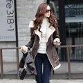 Jaqueta cashmere longo, camurça de médio - cordeiro casaco de lã fina morno do inverno outwear zipper mulheres k629