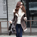 New suede medium-long lamb wool coat Slim warm cashmere outwear Winter zipper Jacket women k629