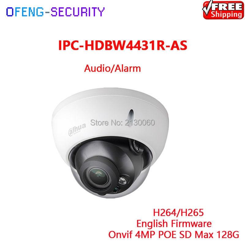 Dahua Camera IPC Dome POE IPC-HDBW4431R-AS 4MP IR 30m Audio 1/1 Alarm 1/1 SD Card English Firmware