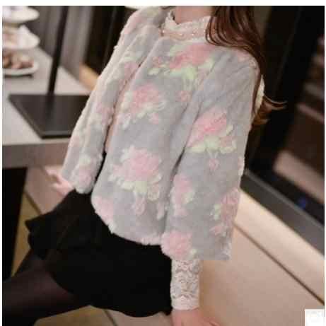 S/6Xl kobiet krótki odcinek kwiat drukuj imitacja kurtki futrzane zima jesień futro płaszcze duży rozmiar elegancka dama futro znosić k913