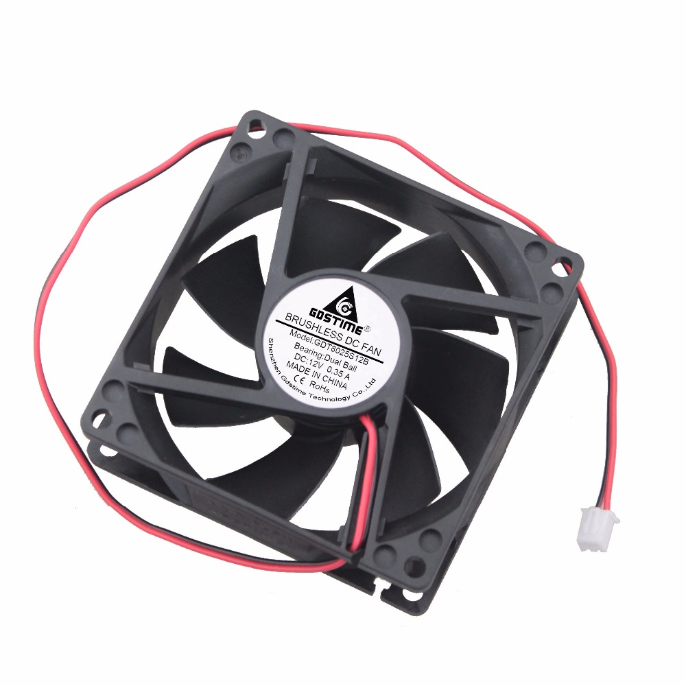 10 Pieces Gdstime 80x80x25mm High Speed 0 35A DC 12V Two Ball PC Case Cooling Fan