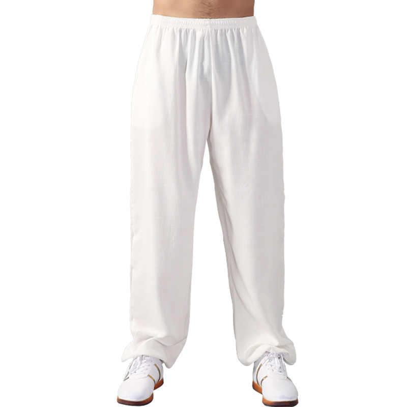 Sztuki walki spodnie dla mężczyzn i kobiet spodnie Tai Chi spodnie kung fu wiosna lato boczne kieszenie bawełniane luźne spodnie do ćwiczeń plus rozmiar