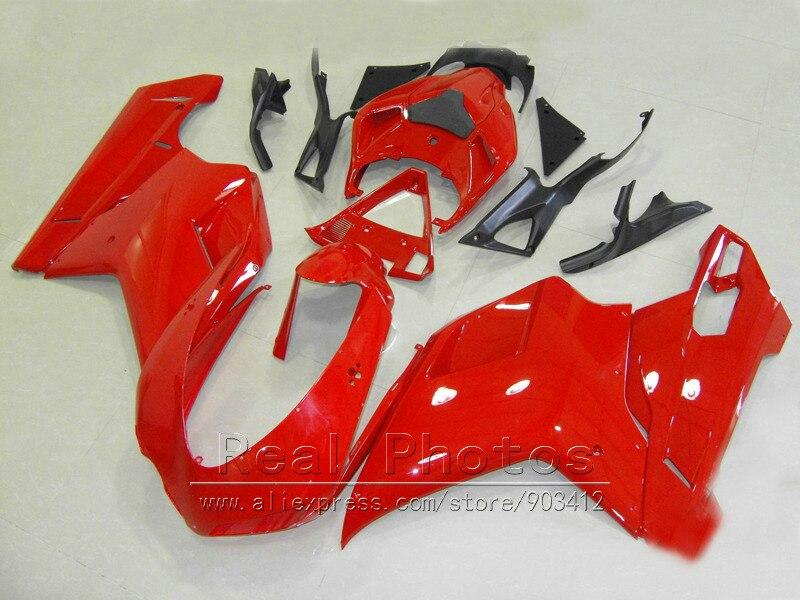 ABS en plastique carénages pour Ducati 848 1098 07 08 09 10 11 rouge noir carrosserie carénage kit 848 1198 2007-2011 DY74