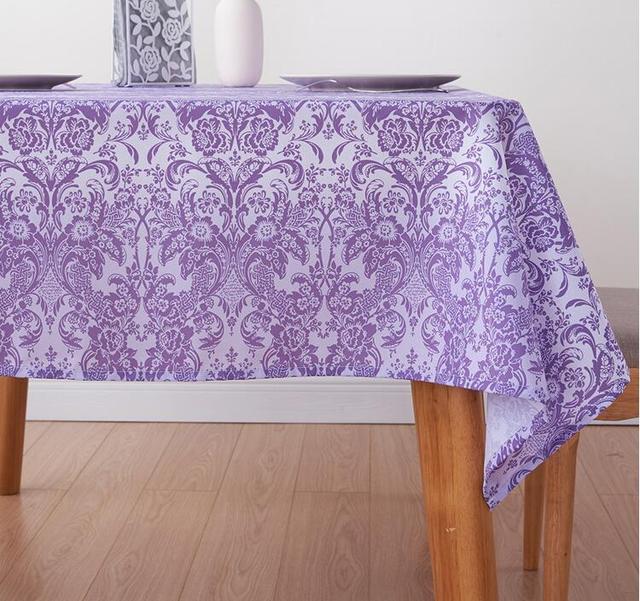 Fyjafon Oil Proof Tablecloth Waterproof Table Cloth Rectangular Tablecloth  Purple Table Cover 100*100/130*180/140*200/140*220