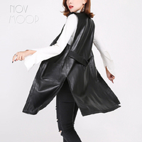 Side split Black genuine leather vest real lambskin leather long trench coat veste femme chalecos mujer colete gilet LT1907