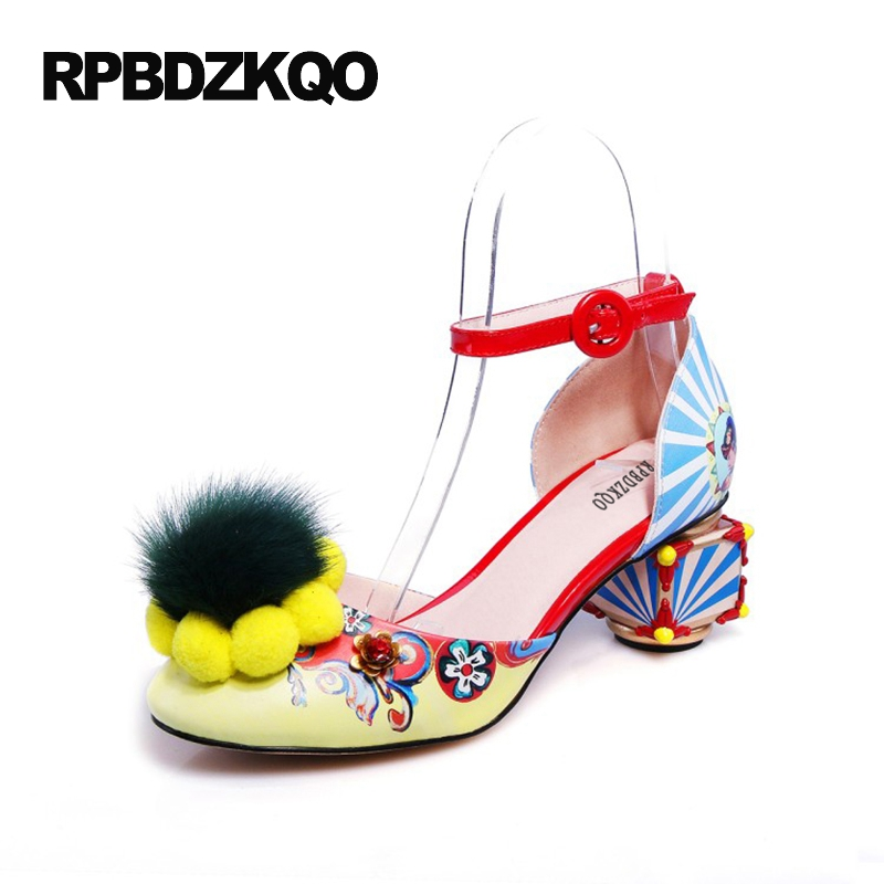 Здесь можно купить  Abnormal Ankle Strap Folk Multi Colored Catwalk Colourful Sandal Round Toe Chunky Peep Pumps Pom High Quality Designer Shoe Heel  Обувь