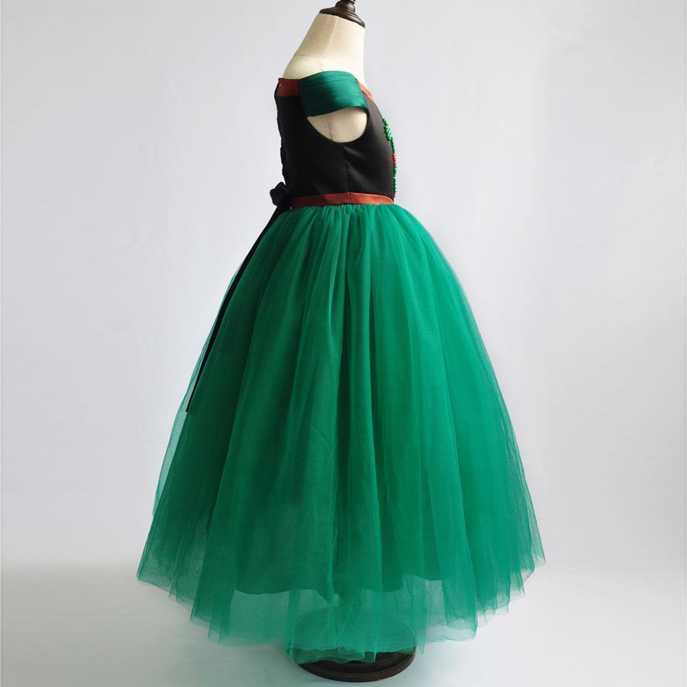 Robe fille verte avec perles petites filles princesse raiponce cendrillon Belle au bois dormant habiller Costume avec accessoire