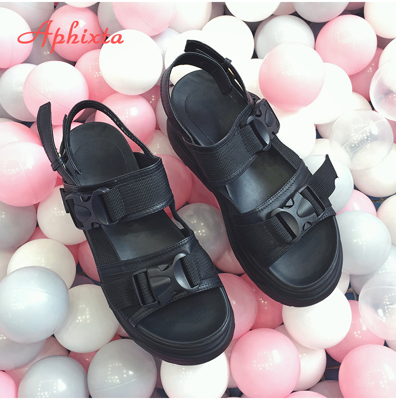 HTB1cXKZX.rrK1RkSne1q6ArVVXaC Aphixta 8cm Platform Sandals Women Wedge High Heels Shoes Women Buckle Leather Canvas Summer Zapatos Mujer Wedges Woman Sandal