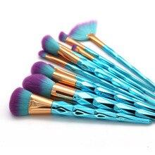 AiceBeu 12 шт. набор кистей для макияжа с радужной ручкой Косметические румяна для смешивания пудры гладкие алмазные кисти