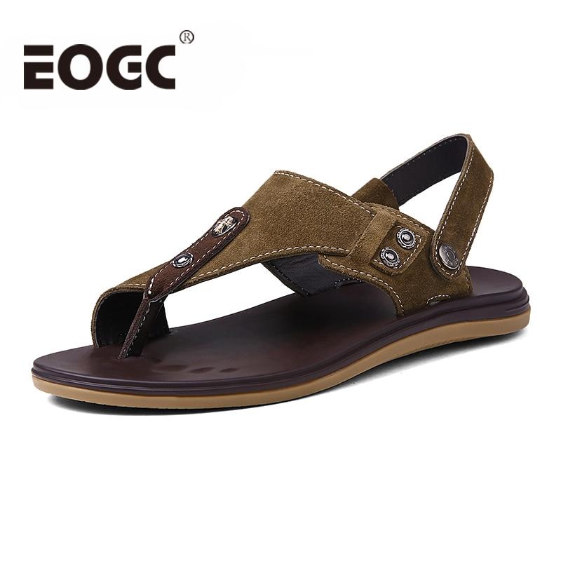 High quality Men sandals Fashion Genuine leather Sandals Men Summer shoes beach Slippers Breathable flat Sandalias Hombre