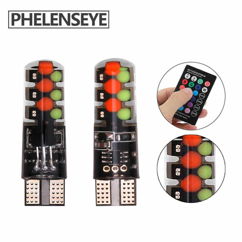 10PCS T10 RGB Clearance light New Universal Car RGB COB 12SMDs Colorful Multi Mode Car Light Bulbs With Remote Controller