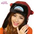 Womens Mens Winter Hats Ear Flaps Corduroy Warm Ski Bomber Hats Cute Cartoon  Embroidery Big Mouth Russian Ushanka Hats