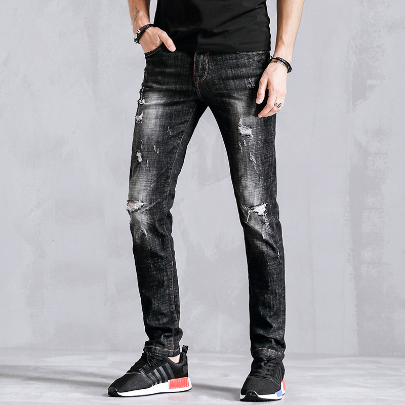 New Pencil Casual Jeans Men Clothes Hole Ripped Distressed Fashion Slim Fit Skinny Male Denim Trousers For Mens Clothing