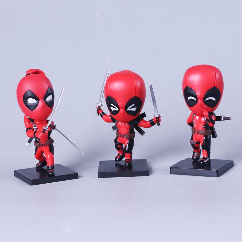 3 pçs/set Vingadores Deadpool Figuras Anime Brinquedos Q Versão Action Figure Super Hero 10 cm PVC Modelo Boneca de Brinquedo com caixa de Presente para Crianças W76