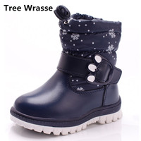 Tree Wrasse Winter New Children Shoes PU Leather Waterproof Martin Boots For Kids Snow Boots Toddler