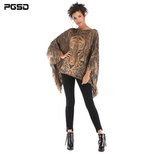 PGSD Autumn winter Fashion women clothes retro tiger head Fringed Cape shawl Slash neck Batwing Sleeve knitted pullover female stylish open front batwing sleeve fringed women s kimono