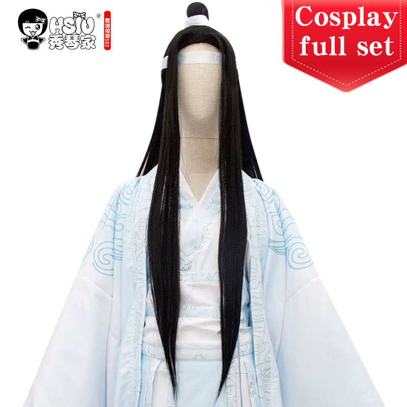 HSIU Lan Wangji Cosplay Wig Costume Yupei Tassel Shoes props Grandmaster of Demonic Cultivation Mo Dao Zu Shi Halloween Hair wig