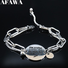 Sin Profes Como Tu La Vida No tendris Clase Stainless Steel Chain Bracelet Women Silver Color Charm Jewelry joya B18421