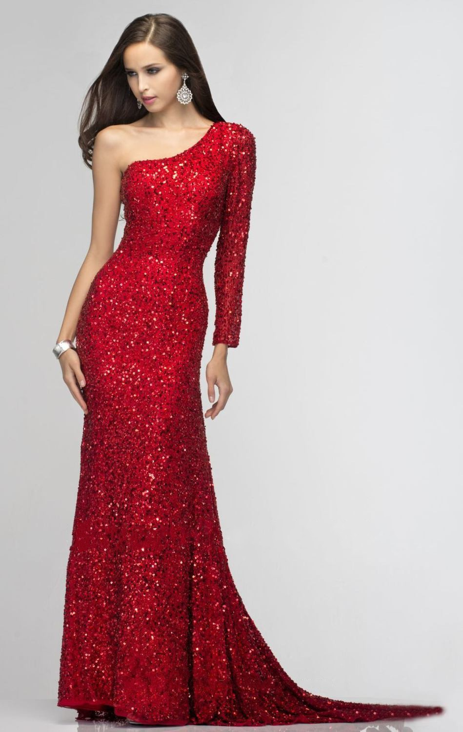 Long Sleeve Red Sequin Prom Dress