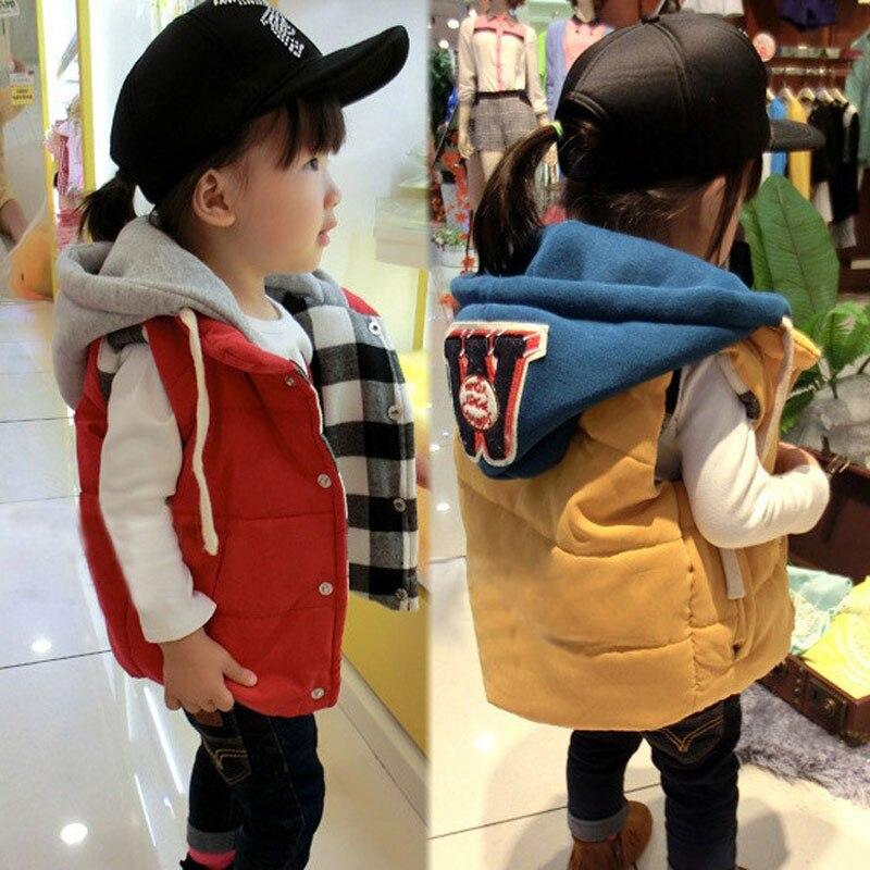 Fashion New Children Hoodies Warm Vest Toddler Boys Girls Autumn Winter Coats Hooded Vest Girl Leter Jackets Solid Waistcoats
