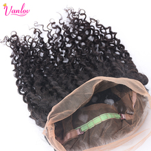 Vanlov Water Wave 360 Lace Frontal With Baby Hair Non Remy Human Hair Weave Bundles Free Part Closure Natural Black