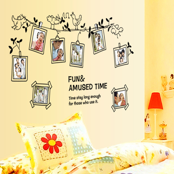 New Cartoon Bird Photo Frame Sitting Room Bedroom Home Decoration Wall Stickers On The