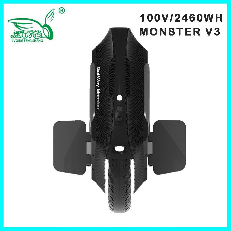 2019 Gotway Monster v3 100V 1845WH/2460WH monocycle électrique Monowheel 2500W carbone noir vendeur mise à niveau