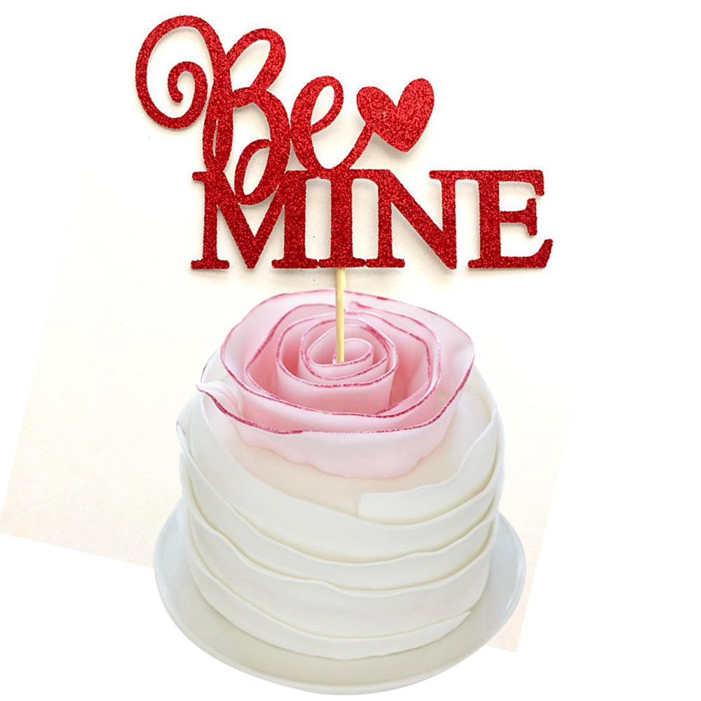 6pcs/lot Valentine's Day Party Decor Romantic Be Mine Letters Cake Topper Decorations  Cake Decorating Supplies CT041