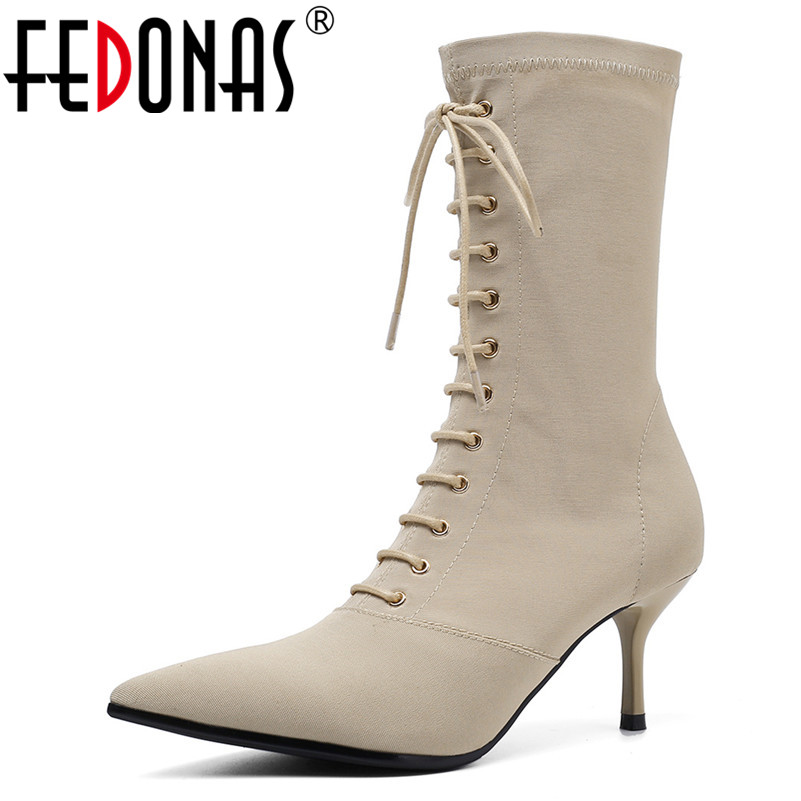 FEDONAS Fashion Punk Pointed Toe Thin Heels Women Mid calf Boots 2019 Spring Autumn New Lace