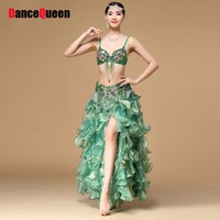 2016 Sexy Lady Belly Dance Costumes 3Pcs Skirt Bra Belt S M L Green Color Tassel