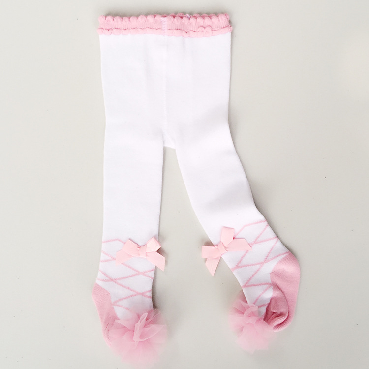 0 36 Months Baby Princess Pink Ballet Tights Bow Yarn Lace -4690