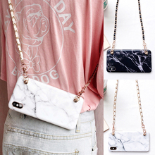 marble chain strap tpu case for iphone 7 8 6s 6 plus XR X XS MAX cover fashion shoulder lanyard soft silicon phone bag capa