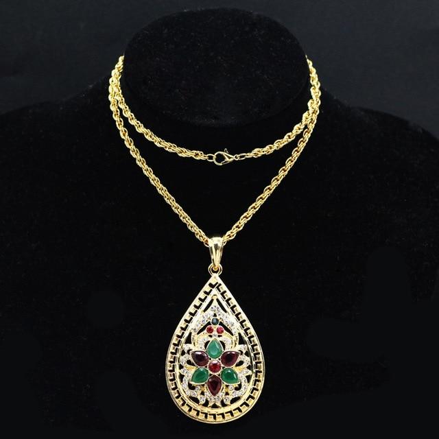WEIYU Muslim Jewelry Alphabet Pendant Necklace Red Green Crystal Flower Arab Moroccan Necklace 2017 Woman Fashion Jewelry