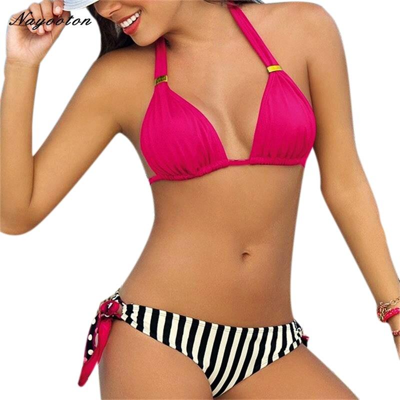Biquíni 2019 Mulheres de Biquíni Definir maiô Empurrar Para Cima Dupla face desgaste Swimsuit Circular gola Tarja Swimwear Backless Beachwear