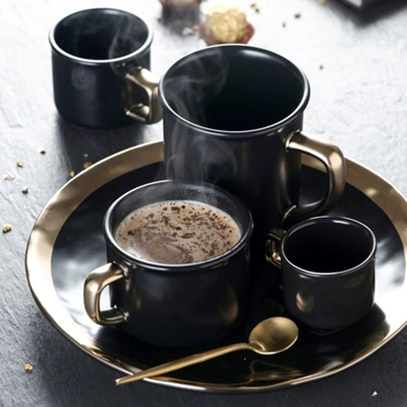 Unique Ceramic Mug with Ergonomic Handle Marbled Black and ...  |Black Stoneware Pottery Mug